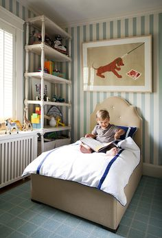 Liz Caan Interiors via Leontine Linens. Custom bed and Cowtan & Tout wallpaper. Design New England - March April 2011