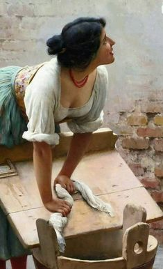 """""""Sharing the News"""" - Eugene de Blaas (Italian, oil on canvas, 1904 {figurative classical realism beautiful female bending woman cropped painting Classic Paintings, Old Paintings, Beautiful Paintings, John William Godward, Classical Art, Classical Realism, Art For Art Sake, Beauty Art, Woman Painting"""