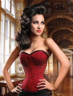 Meschantes Corsetry: Makers of high fashion couture corsetry. Exquisitely designed custom and ready-to-wear corsetry for women and men. Red Corset, Overbust Corset, Sexy Korsett, Photo Mannequin, Lace Tights, Glamour, Up Girl, Mannequins, Divas