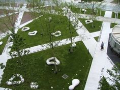 """The Japanese Earthscape architectural studio introduce the """"LaLaport Toyosu"""" project, an innovative strategy that regard the overall landscape as an ocean and t Landscape Plaza, Landscape Elements, Modern Landscape Design, Landscape Architecture Design, Modern Landscaping, Urban Landscape, Innovative Architecture, Museum Architecture, Sustainable Architecture"""