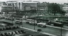 Looking back to Manchester's Piccadilly Gardens when cars, buses and trams competed for road space.   The picture has been taken circa 1948.