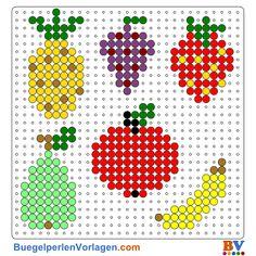 Früchte Bügelperlen Vorlage. Auf buegelperlenvorlagen.com kannst du eine große Auswahl an Bügelperlen Vorlagen in PDF Format kostenlos herunterladen und ausdrucken.