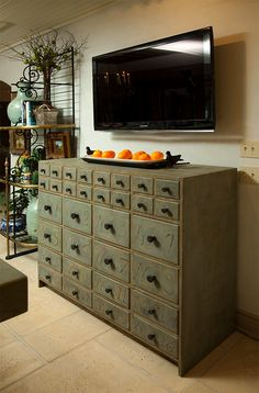 i want an old card catalog-lookin thing in my house. would be super fun to refinish