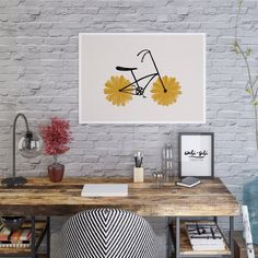 Flower Powered Bike Yellow Daisy Printable Poster Art | Etsy Printable Art, Printables, Power Bike, International Paper Sizes, Home Decor Styles, Flower Power, Mid-century Modern, Daisy, Art Prints