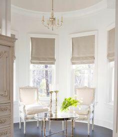 Soft Simple Roman Shades Utilizing Kravet Couture Purlieu Fog.
