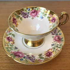 Old Royal Swansea Vintage Teacup and Saucer Gold