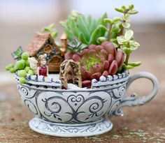 Fairies and succulents in the most adorable teacup planter I've ever seen! #fairy #garden