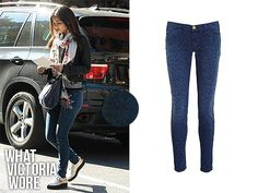 Victoria Justice on set of Naomi and Ely's No Kiss List on October 15th, 2013 wearing Current/Elliot Stiletto Leopard Print Jeans. Unfortunately, they're no longer available