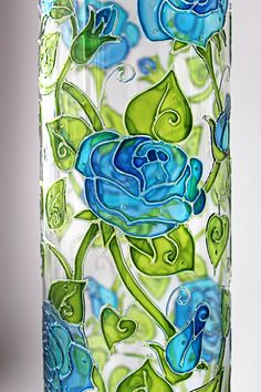 The Celestial Roses Vase in progress. I adore using transparent relief on vases because it makes them very delicate and fresh. It takes days to paint such a vase, not a very fast process, but it is worth it! Painted Glass Vases, Tall Glass Vases, Painted Wine Glasses, Stained Glass Paint, Stained Glass Patterns, Glass Painting Designs, Paint Designs, Glass Bottle Crafts, Bottle Art