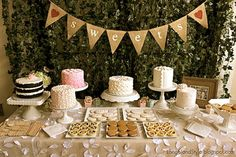 beautiful dessert table setup & I have all of these dishes & cake stands..... SWEETS burlap banner  Wedding reception  Dessert by butterflyabove, $27.00