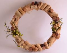 Upcycle wine cork spring wreath home decor by ArtEternal on Etsy, $35.00