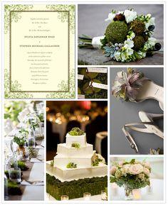 Moss green wedding inspiration board