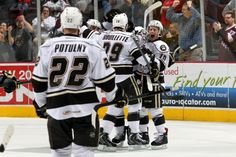 02.09.14 - Hershey Bears goal celebration.  Photo courtesy of JustSports Photography