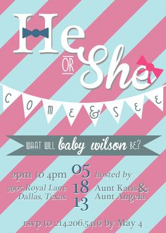 Gender Reveal Party Invitation www.kjpaperie.com