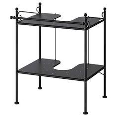 RÖNNSKÄR Wash-basin shelf, black - IKEA Corner Shelf Unit, White Bathroom Storage, Metal Shelving Units, Wash Stand, Under Sink, House Inside, Base Cabinets, Cleaning Wipes, Furniture