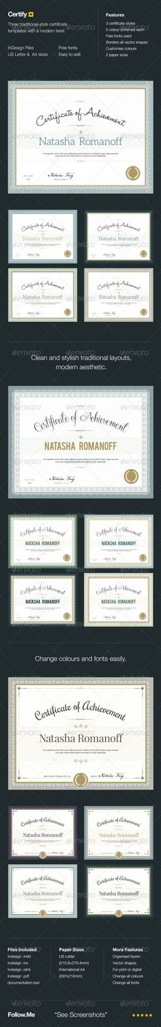 Certify Award Certificate Template InDesign INDD. Download here: http://graphicriver.net/item/certify-award-certificates/5526005?s_rank=36&ref=yinkira