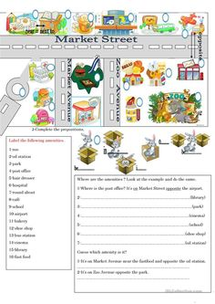 A worksheet that helps the learners to identify the amenities, then locate them using the appropriate prepositions. Ihe final activity the learners read the lcation. Dream English, Learn English, English Teaching Materials, Teaching English, Maps For Kids, English Grammar Worksheets, Picture Dictionary, Teachers Aide, Prepositions