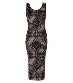Black Retro Swirl Print Bodycon Midi Dress