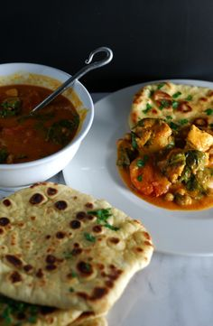 Lighter Creamy Tomato Chicken Curry with Quick Homemade Buttery Garlic Naan http://www.foodandflight.com/recipe-items/lighter-creamy-tomato-chicken-curry-with-quick-homemade-buttery-garlic-naan/
