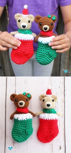Fun Christmas Crochet Ornaments. Aren't these bears just the cutest? They are snuggled up in their own, adorable stockings, that are made in the most christmasy colors ever, which are red and green. Each of the bears is about 5 inches tall, which makes them perfect for a quick project. #freecrochetpattern #amigurumi #bear