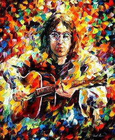 """John Lennon —  PALETTE KNIFE Portrait Oil Painting On Canvas By Leonid Afremov - Size: 30"""" x 36"""" (75cm x 90cm)"""