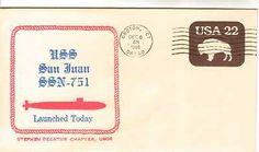 Nice SUBMARINE USS SAN JUAN SSN-751 Naval Cover 1986 LAUNCH Cachet GROTON, CT