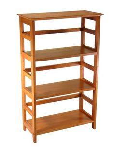 4-Tier Book-shelf Wood Bookcase in Honey Finish