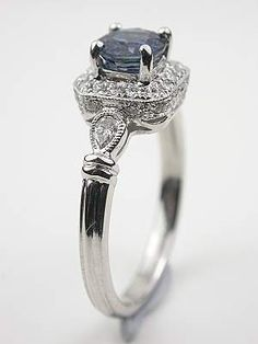 Engagement Earrings Antique Style Sapphire Engagement Ring - A timeless mounting lends classic sophistication to a stunning blue sapphire in this vintage style engagement ring. Engagement Jewelry, Vintage Engagement Rings, Diamond Engagement Rings, Solitaire Ring, Antique Rings, Antique Jewelry, Vintage Jewelry, Gothic Jewelry, Vintage Rings