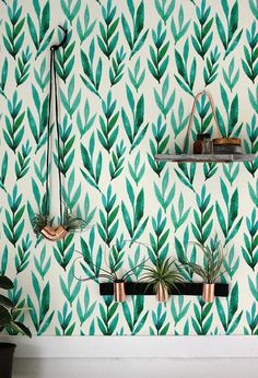 Green watercolor leaves Removable wallpaper by BohoWalls on Etsy