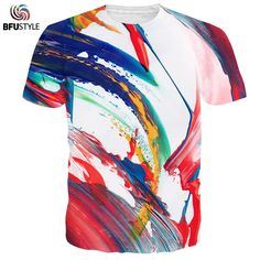 0cf066b91ead8 BFUSTYLE T-shirts Men 2017 Colorful Painting Men Summer Tees Tops Casual  Unisex Clothing 3D