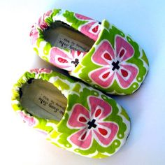 Flower Child Handmade Organic Baby Shoes in Honeysuckle Pink, Orchid and Lime Green- 12-18 months for walker. $24.00, via Etsy.