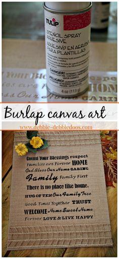Burlap canvas home and family art. Easy as 1,2,3. #debbiedoos