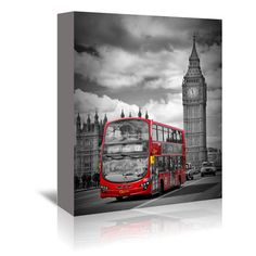 """East Urban Home London Westminster Bridge Traffic Graphic Art on Wrapped Canvas Size: 14"""" H x 11"""" W x 1.5"""" D"""