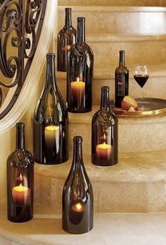 Create your own Gorgeous Wine Bottle Votive Lanterns -   http://www.budget101.com/crafts-scrapbooking-ideas/how-cut-bottle-half-4643.html