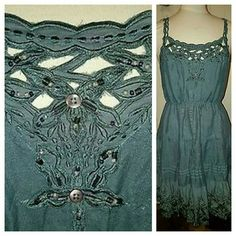 Free People Embellished Cut Work Dress NWOT M NEW fp.dress..hard to pin down shade..like a greenish /olive, greyish almost bluish undertones color or at least that is IMHO, since color/shade is subjective u mite think.different has beautiful cutwork w/embellishment (beads) & tonal embroidery on cutwork, textural tonal tiers, fitted top,  flare, pls see tag, line thru tag, a medium weight woven material not a soft tee/knitted fabric .PRICE IS FIRM HAS BEEN MARKED DOWN QUITE A BIT AND NEW…