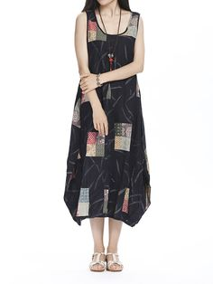 Vintage Women Sleeveless O Neck Pattern Printed Linen Dress Shopping Online - NewChic