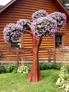 10 ft steel tree- for holding planters! - 10 ft steel tree- for holding planters! Boxwood Garden, Cement Garden, Diy Garden Decor, Garden Art, Garden Design, Garden Decorations, Small English Garden, Beautiful Gardens, Beautiful Flowers