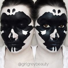 "Rorschach Test (Inkblot Test) Makeup. I've always been fascinated with psychological disorders. Details ✖️ @morphebrushes White Cream Foundation from the 06CF Palette. Black ""Ink"" is done with the @makeupforeverofficial Flash Palette. #morphegirl"