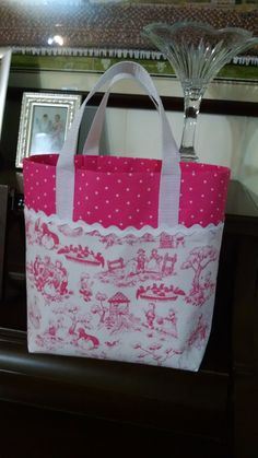 Nursery Rhyme Toile Tote Girls Library Tote by MaryMagicalMemories