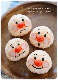 「キャラ弁*アンパンマンおにぎり」簡単アンパンマンのおにぎりです★お好きな表情で作ってみてネ^^【楽天レシピ】 Cute Food, Good Food, Yummy Food, Bento Recipes, Baby Food Recipes, Bento Box Lunch For Kids, Japanese Food Art, Kawaii Cooking, Food Art For Kids