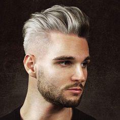 Silver Hair + Pomp Fade + Beard