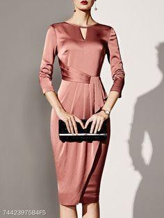 Boat Neck Plain Body - January 10 2019 at Bodycon Dress Outfit, Polka Dot Bodycon Dresses, Dress Silhouette, Winter Dresses, Dress Winter, Gray Dress, Dress Brands, Unique Fashion, Fashion Dresses