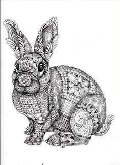 Bunny Rabbit Abstract Doodle Zentangle Paisley Coloring pages colouring adult… Doodles Zentangles, Zentangle Patterns, Zentangle Animal, Mandala Art, Desenho Pop Art, Tangle Art, Coloring Book Pages, Doodle Art, Illustration