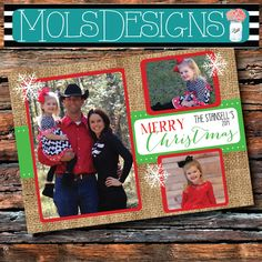 Any Color Floral MERRY CHRISTMAS Card Party Vintage BURLAP Chalkboard Red Green Photo Holiday Baby Announcement Bridal Shower Invitation