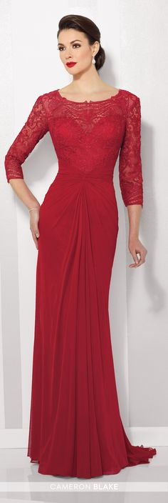 Formal Evening Gowns by Mon Cheri - Fall 2016 - Style No. 216677 - red evening dress with lace illusion 3/4 length sleeves and front gathered skirt