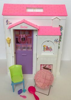 Vintage BARBIE FOLDING PRETTY HOUSE 1996 Fold N Go Travel White Pink Mattel #Mattel