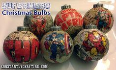 Superhero Christmas Bulbs - make your own Christmas ornaments - http://constantlycrafting.com/superhero-christmas-bulbs/#more-1511