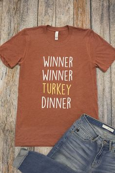fb7c76033 Winner Winner Turkey Dinner Graphic Tee - The Pink Lily Personalized  Fathers Day Gifts, Personalized