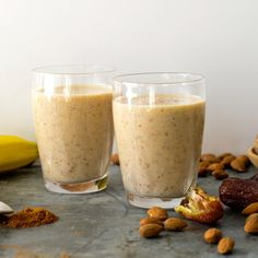 Banana, Date and Nut Smoothie Bananas 2 large (pre-frozen) Medjool dates stones removed and roughly chopped blanched almonds ½ cup roughly chopped ground cinnamon good pinch Milk Recipes, Low Carb Recipes, Cooking Recipes, Healthy Recipes, Healthy Eating Tips, Clean Eating, Healthy Fats, Date Smoothie, Nutritious Breakfast
