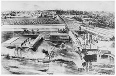 Patterson Cypress Sawmill An image appearing in American Lumberman in 1911, this bird's eye illustration of the F.B. Williams Cypress Company shows the magnitude of the cypress industry, and its effect on the Patterson waterfront. Image courtesy of Albany Woodworks.